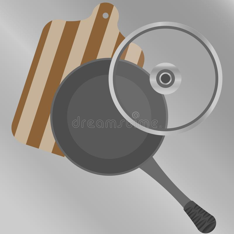 Pan met een transparant deksel en scherpe raad op hoogste mening stock illustratie