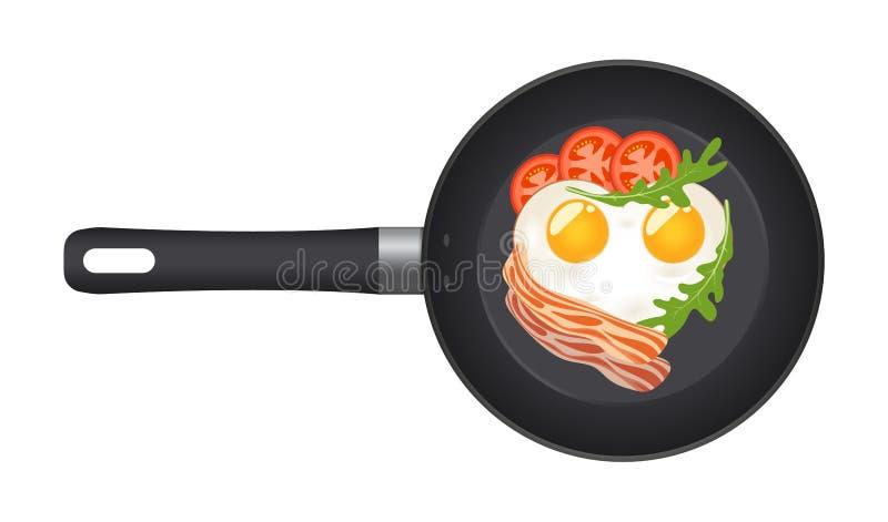 Pan met gebraden ei in de vorm van een hart, met bacon, tomaten en arugula Hoogste mening Creatief ontwerp voor ontbijt stock illustratie