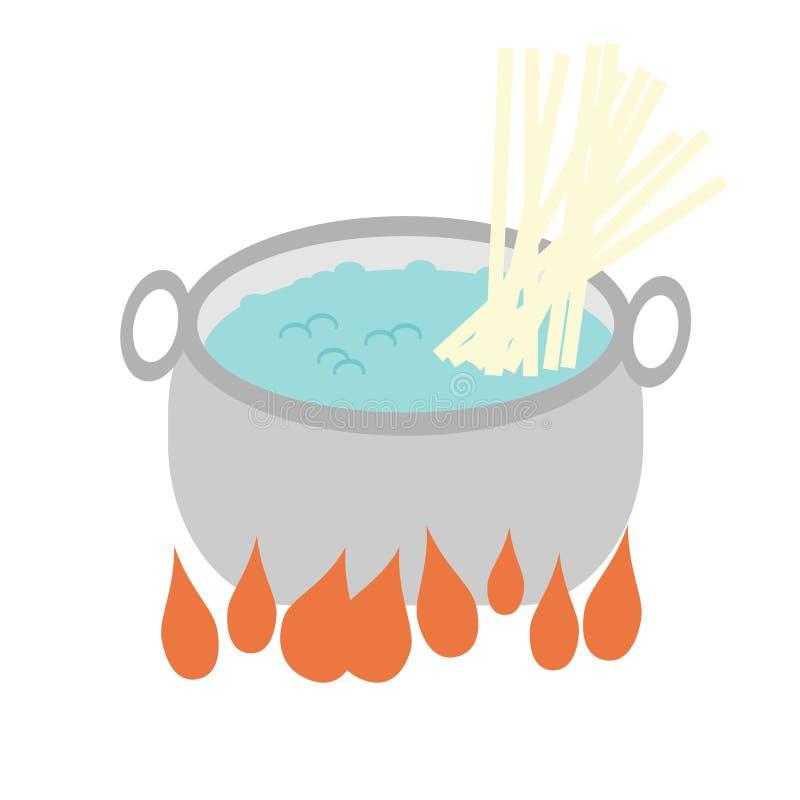 Pan met gekookte water en noedel royalty-vrije illustratie