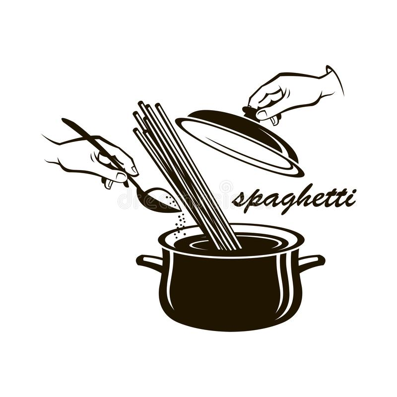 Pan met spaghetty vector illustratie
