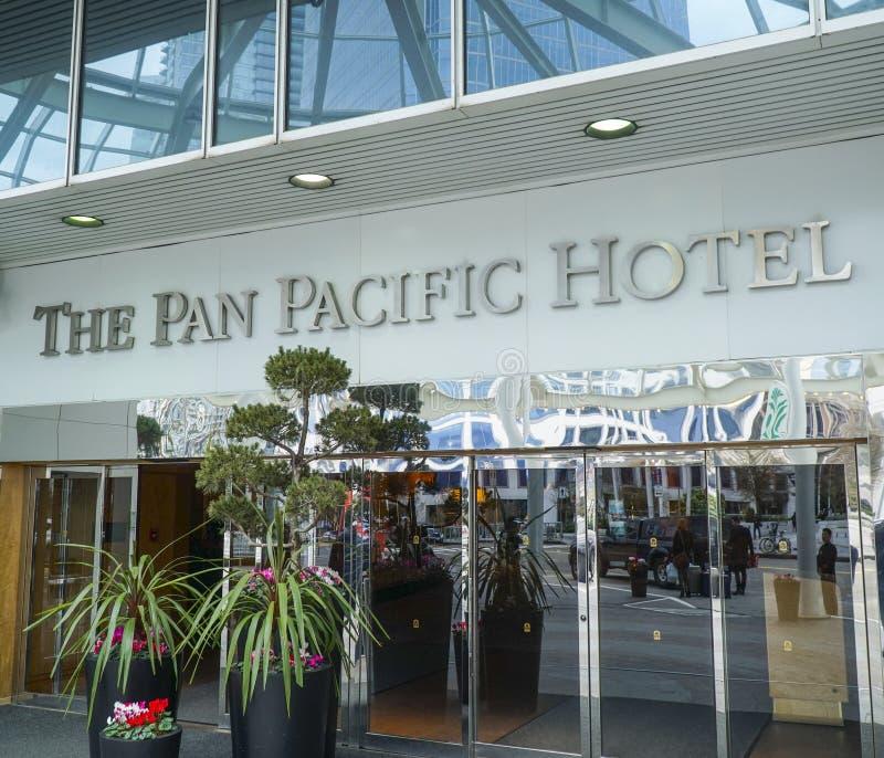 Pan Pacific Hotel em Vancôver - VANCÔVER - CANADÁ - 12 de abril de 2017 imagem de stock