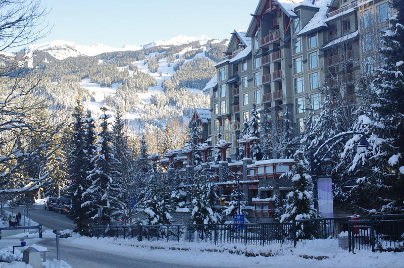 Pan Pacific Whistler Village Center. Village Gate Boulevard with Pan Pacific Whistler Village Center built in European Alpine style in Canadian ski resort royalty free stock photography