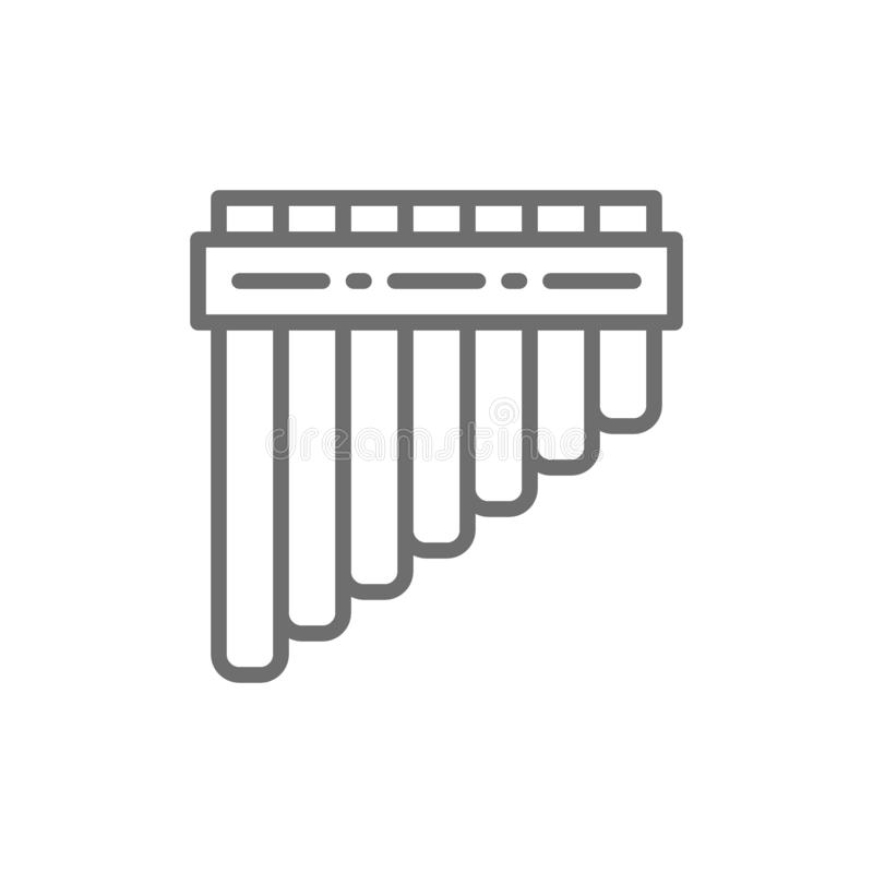 Pan Pipes, bamboo peruvian flute line icon. stock illustration