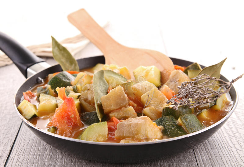 Pan with ratatouille stock image