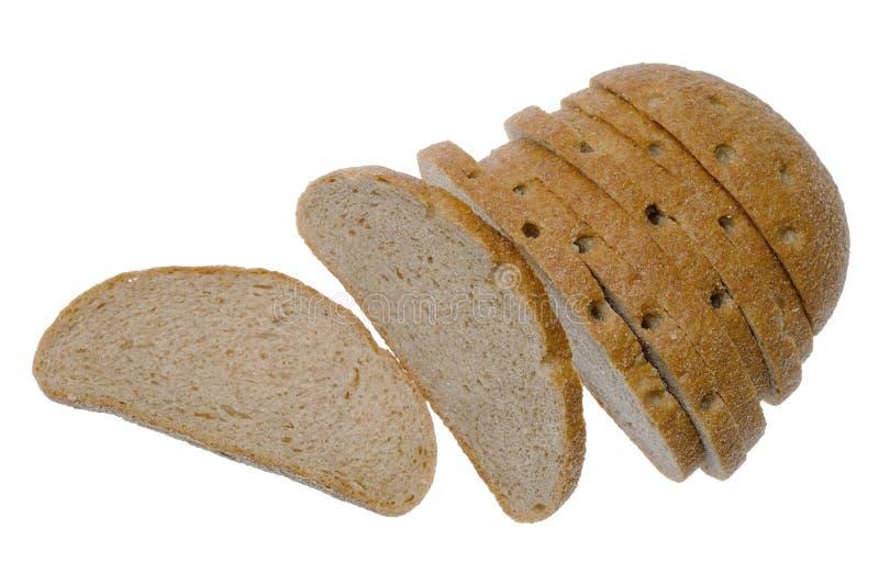 Pan rebanado aislado en el fondo blanco imagen de archivo