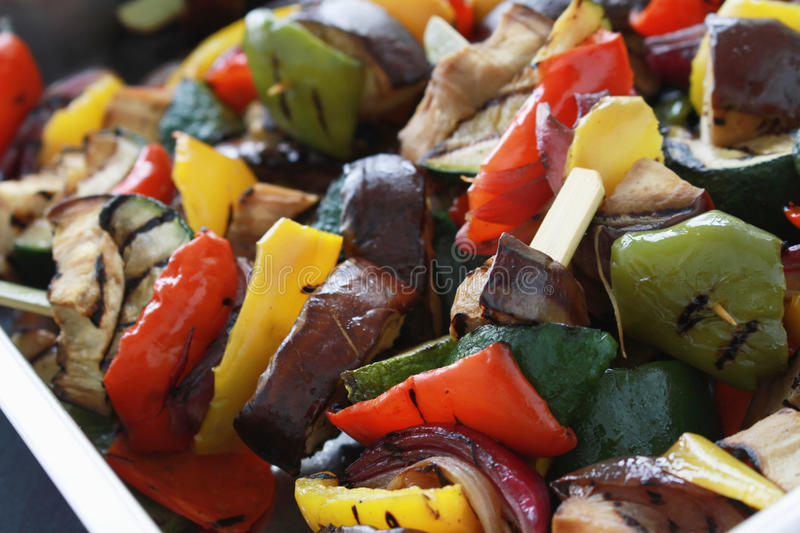 Pan roasted mixed vegetables. Freshly pan roasted char grilled mixed vegetables royalty free stock images