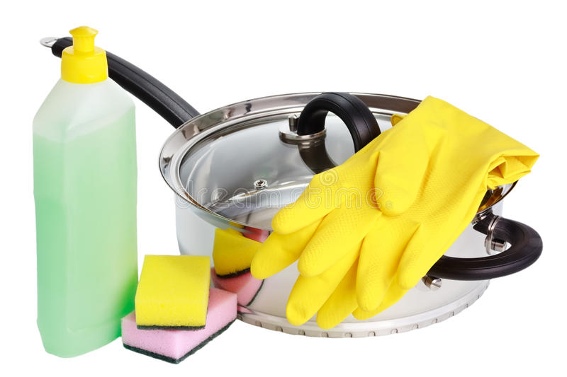 Pan, rubber gloves, cleaning fluid and sponges