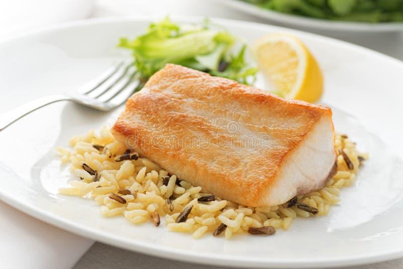 Pan Seared Fish stock afbeelding