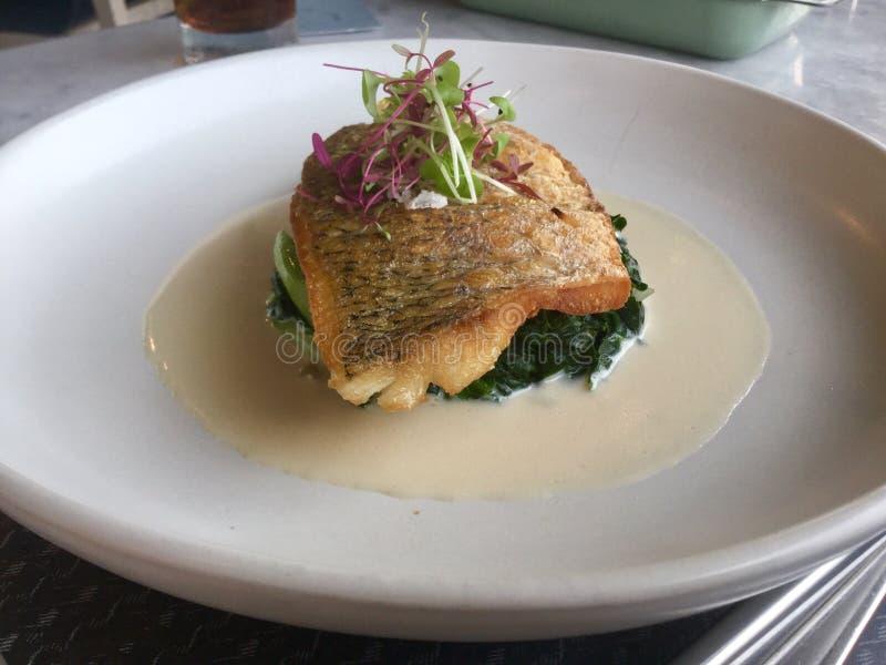 Pan Seared Fish Italiaanse gastronomisch royalty-vrije stock fotografie