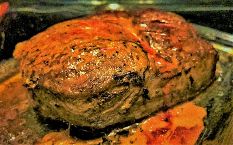 Pan Seared Rib Eye Steak stock foto's