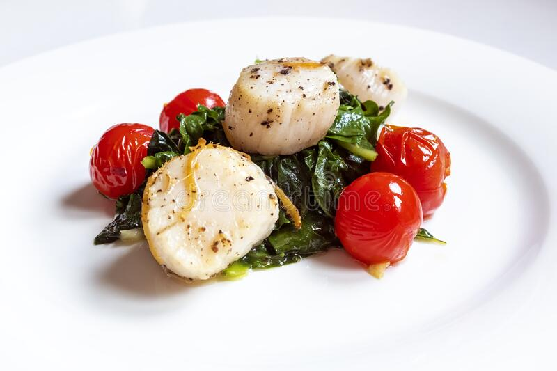 Pan Seared Scallops with Ginger and Black Pepper Served on a Bed of Green Swiss Chard royalty free stock images