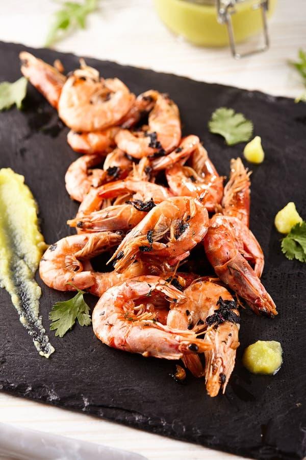 Pan Seared Shrimp stock afbeeldingen