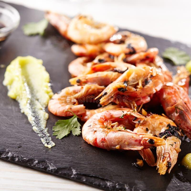 Pan Seared Shrimp stock foto