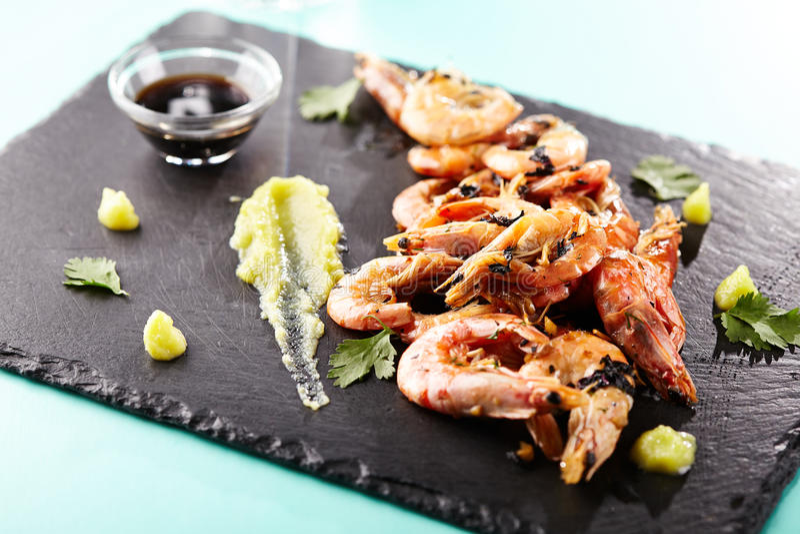 Pan Seared Shrimp royalty-vrije stock afbeeldingen
