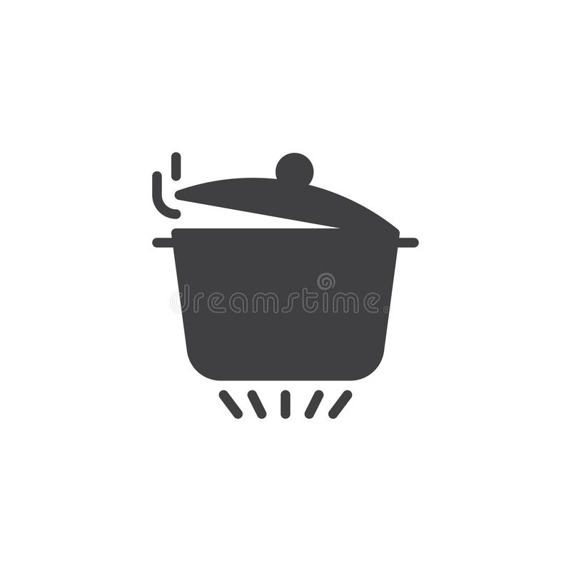 Pan with steam on gas stove icon vector vector illustration