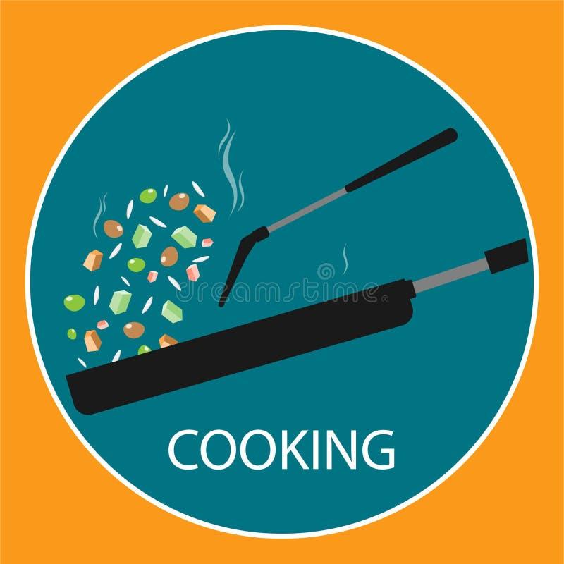 Pan stir fried cooking flat vector logo vector illustration