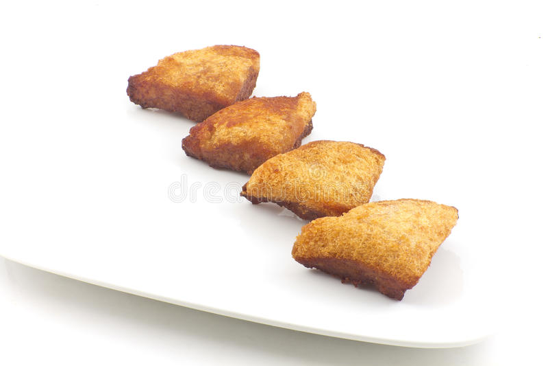 Pan tostado chino con el camarón picadito fotografía de archivo
