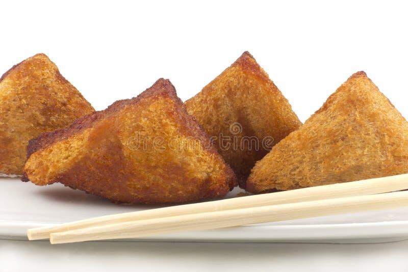 Pan tostado chino con el camarón picadito foto de archivo libre de regalías