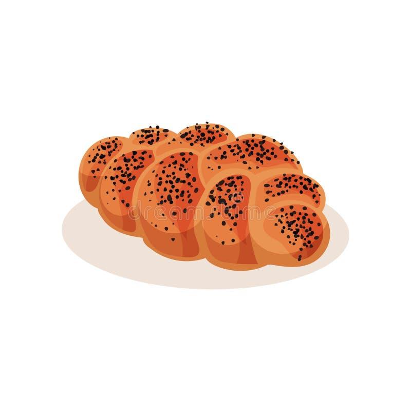 Pan trenzado fresco con las semillas de amapola, ejemplo del pan del vector del producto de pasteles de la panadería en un fondo  ilustración del vector