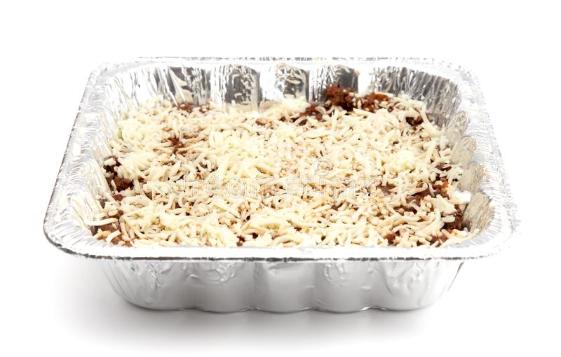 Uncooked Lasagna In A Disposable Tin Pan Stock Photo Image