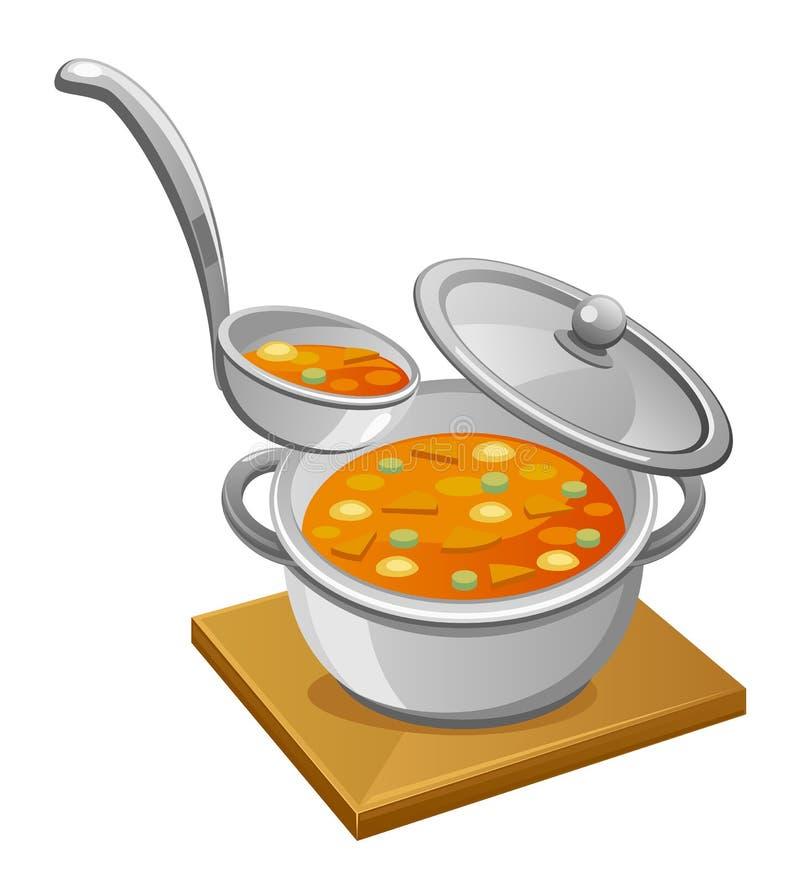 Pan van soep vector illustratie