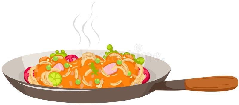 Pan van spaghetti royalty-vrije illustratie