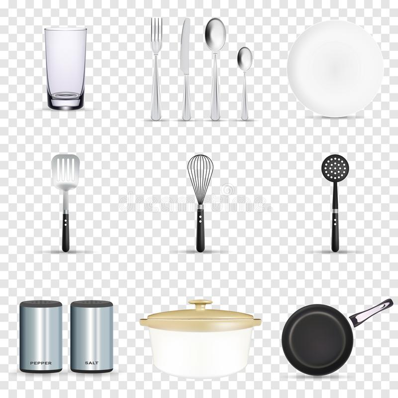 Pan vector kitchenware or cookware for cooking food with kitchen utensil cutlery and plate illustration set of dishware royalty free illustration