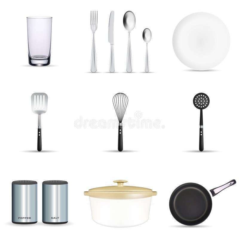 Pan vectorkeukengerei of cookware voor het koken van voedsel met het bestek en de plaatillustratiereeks van het keukenwerktuig va royalty-vrije illustratie