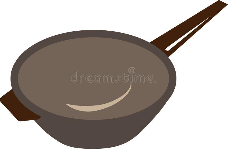 Pan voor het koken van eenvoudig kleurenpictogram stock afbeelding
