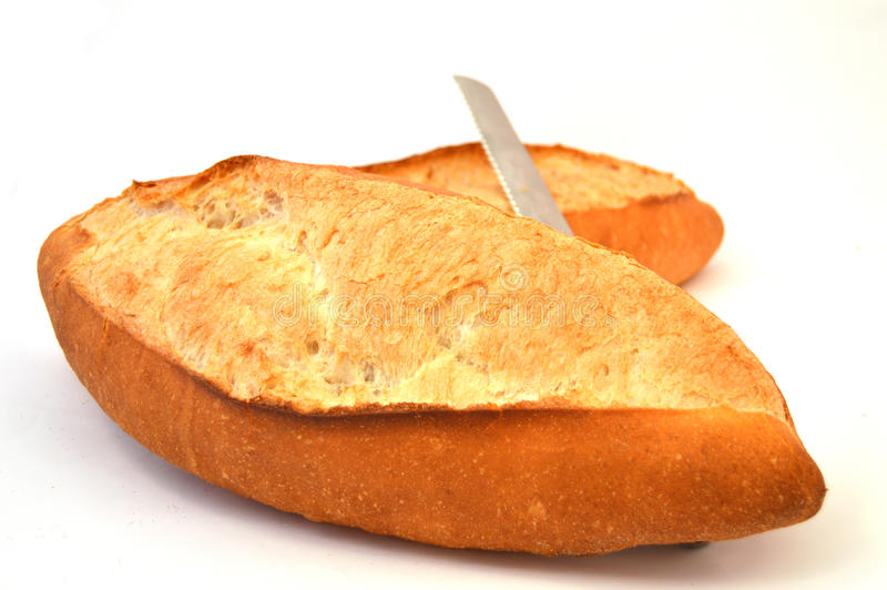Pan y cuchillo de pan fotos de archivo libres de regalías