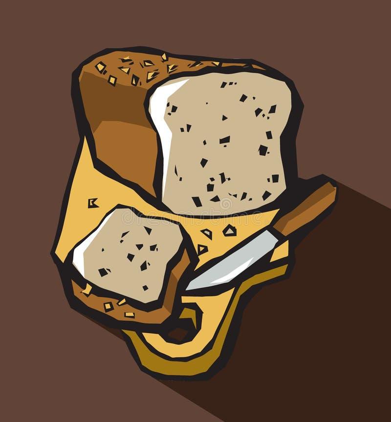 Pan y cuchillo del pan en tabla de cortar stock de ilustración