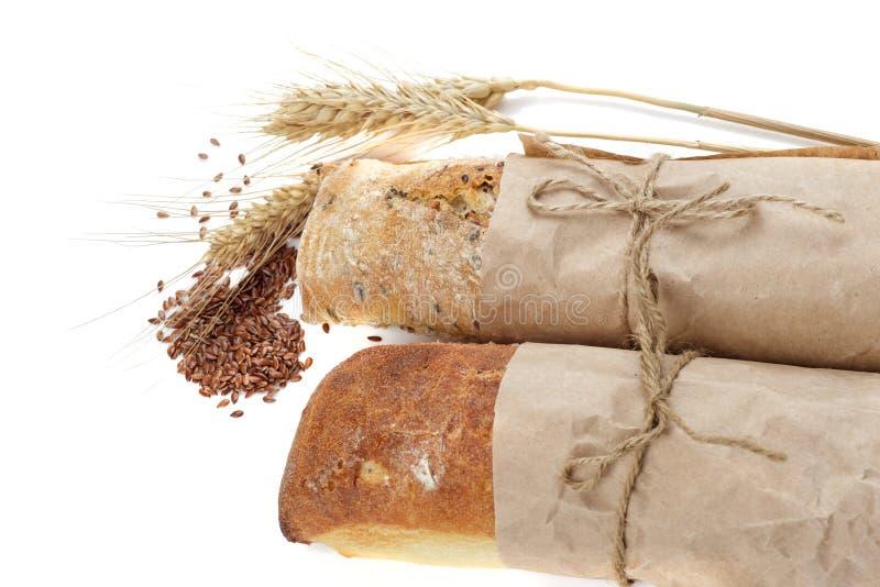 Pan y linaza fotos de archivo