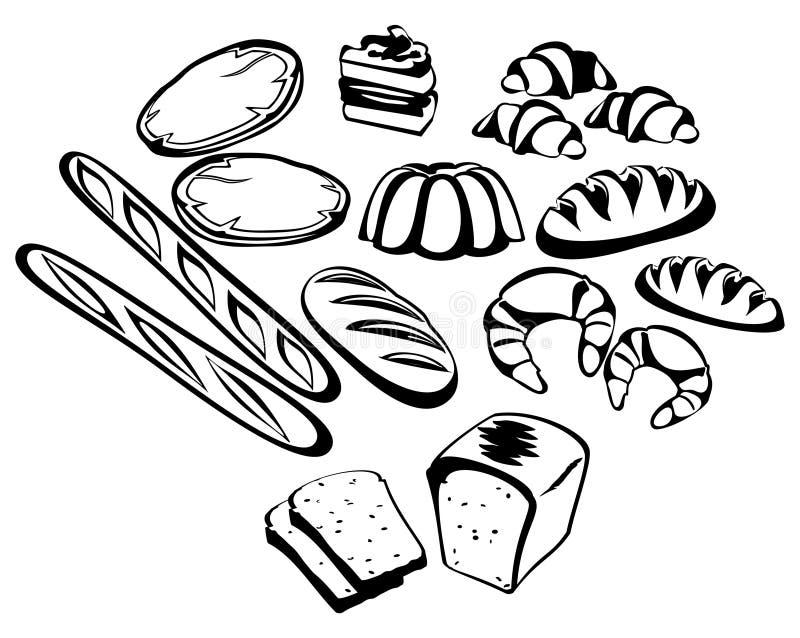 Pan y pan de la suposición stock de ilustración