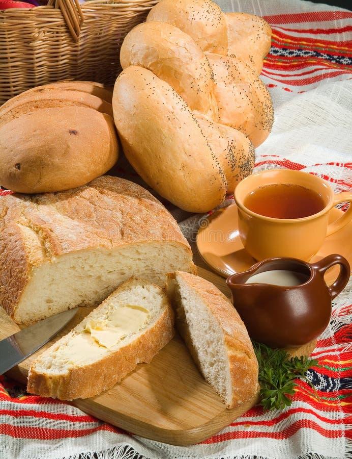 Pan y té imágenes de archivo libres de regalías