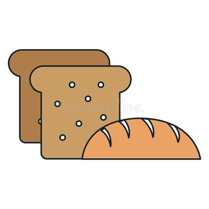 Pan y tostada deliciosos stock de ilustración