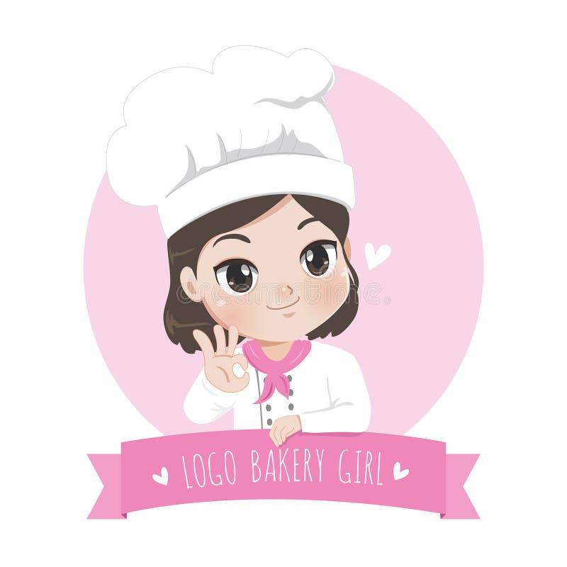 Panadería de la niña del logotipo y postre y sonrisa dulce stock de ilustración