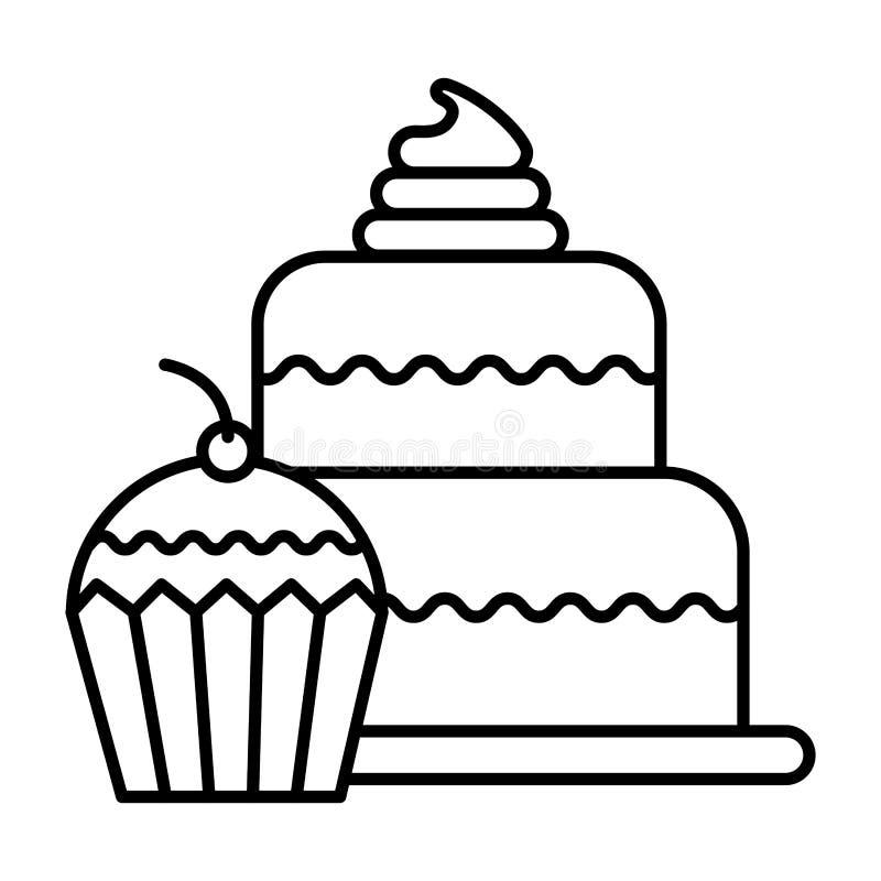 Panadería deliciosa del postre de la comida de la torta y de la magdalena ilustración del vector