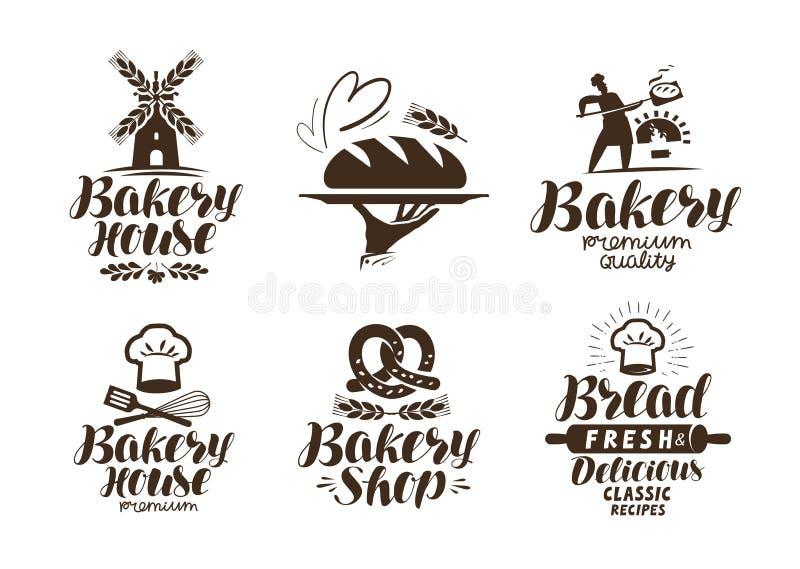 Panadería, etiqueta de la panadería o logotipo Pan, repostería y pastelería, símbolo de la comida Ejemplo tipográfico del vector  ilustración del vector