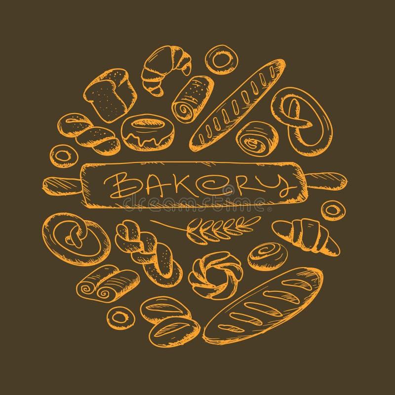 Panadería fijada en marco redondo fotografía de archivo