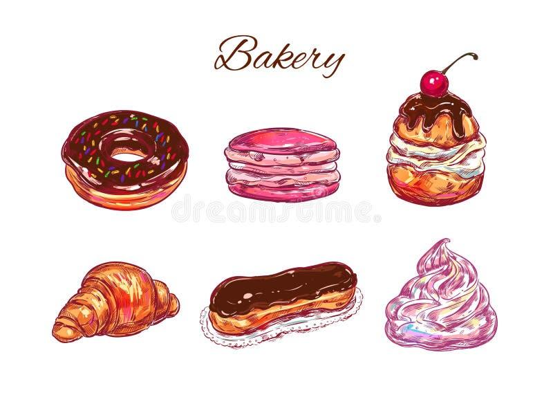panadería Ilustración drenada mano del vector Objetos aislados stock de ilustración