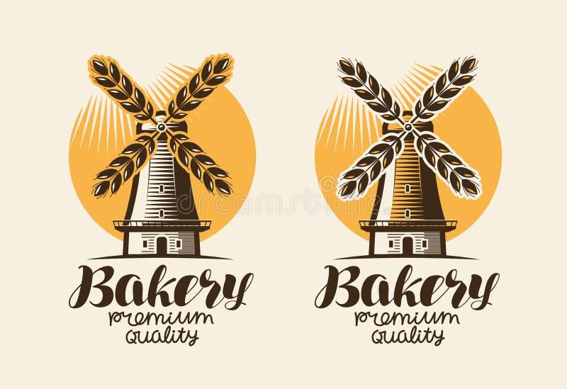 Panadería, logotipo de la panadería o etiqueta Molino, molino de viento, trigo del oído, símbolo del pan Letras, ejemplo del vect ilustración del vector