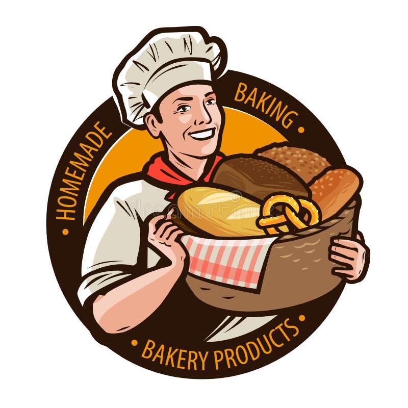 Panadería, logotipo del bakeshop o etiqueta Hornada casera, concepto del pan Ilustración del vector de la historieta stock de ilustración
