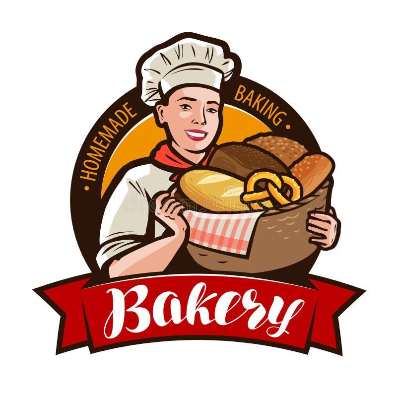 Panadería, logotipo del bakeshop o etiqueta Panadero de la mujer que sostiene una cesta de mimbre llena de pan Ilustración del ve ilustración del vector