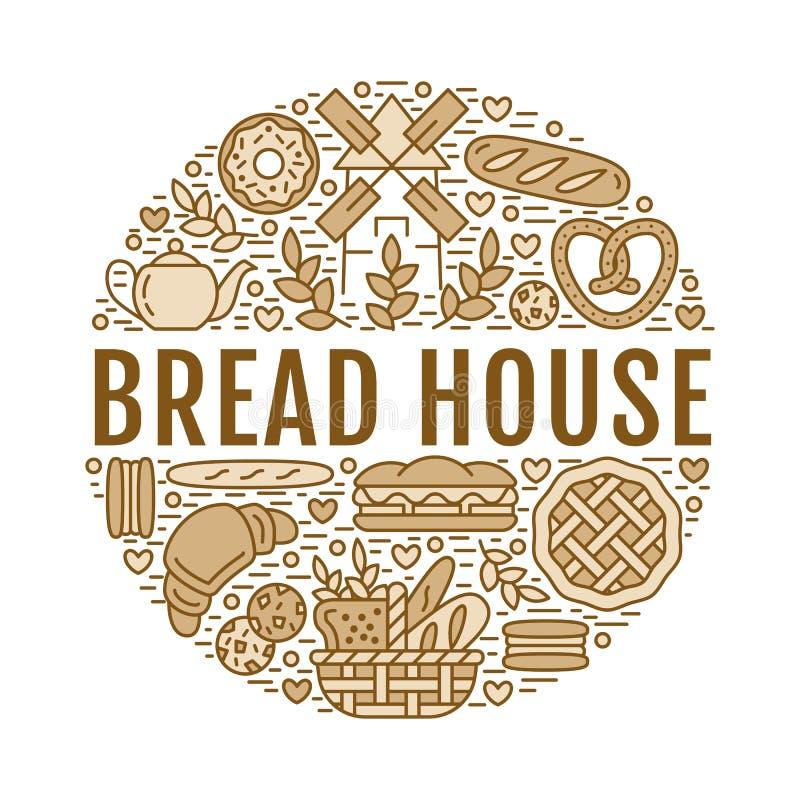 Panadería, plantilla del cartel de la casa del pan Vector la línea iconos, ejemplo de dulces, cruasán del pretzel, mollete, paste stock de ilustración
