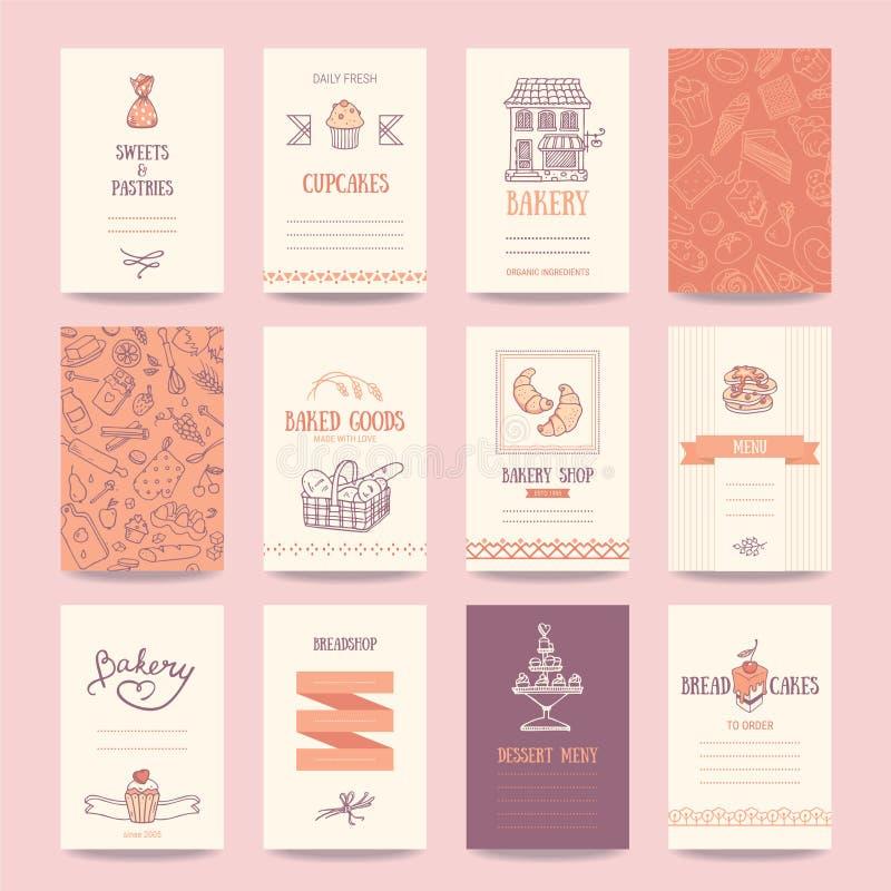 Panadería, tarjetas de visita de la cafetería, plantillas del menú ilustración del vector