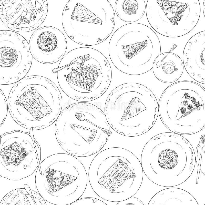 Panadería, tortas, modelo inconsútil linear de los pasteles Fondo dulce de los elementos Postre dibujado mano del contexto en la  libre illustration