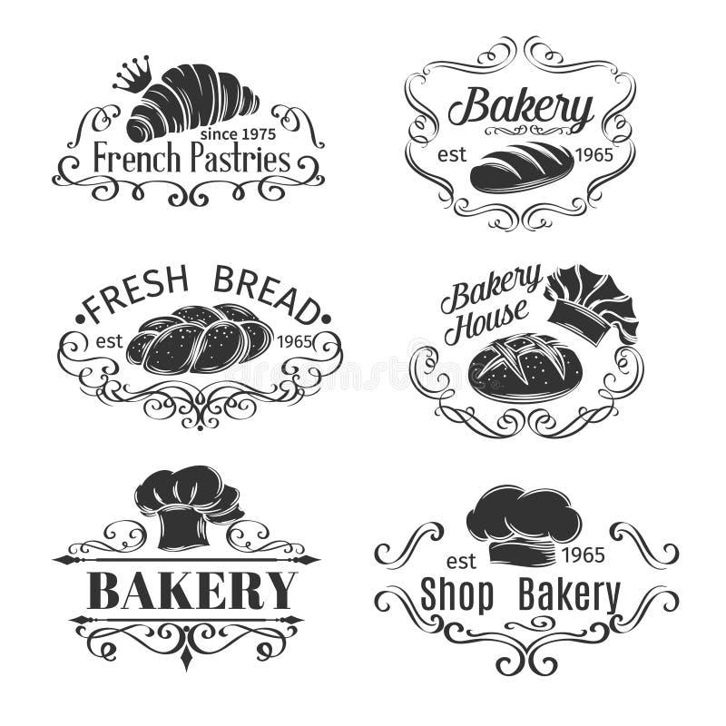 Panadería y pan decorativos de la etiqueta del vintage ilustración del vector