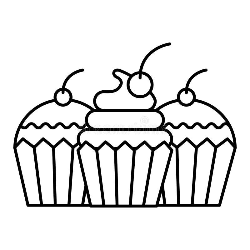 Panader?a deliciosa del postre de la comida de la torta y de la magdalena ilustración del vector