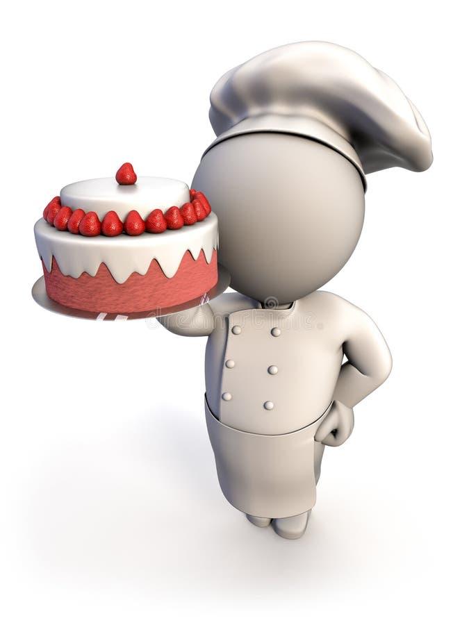 Panadero con la torta ilustración del vector