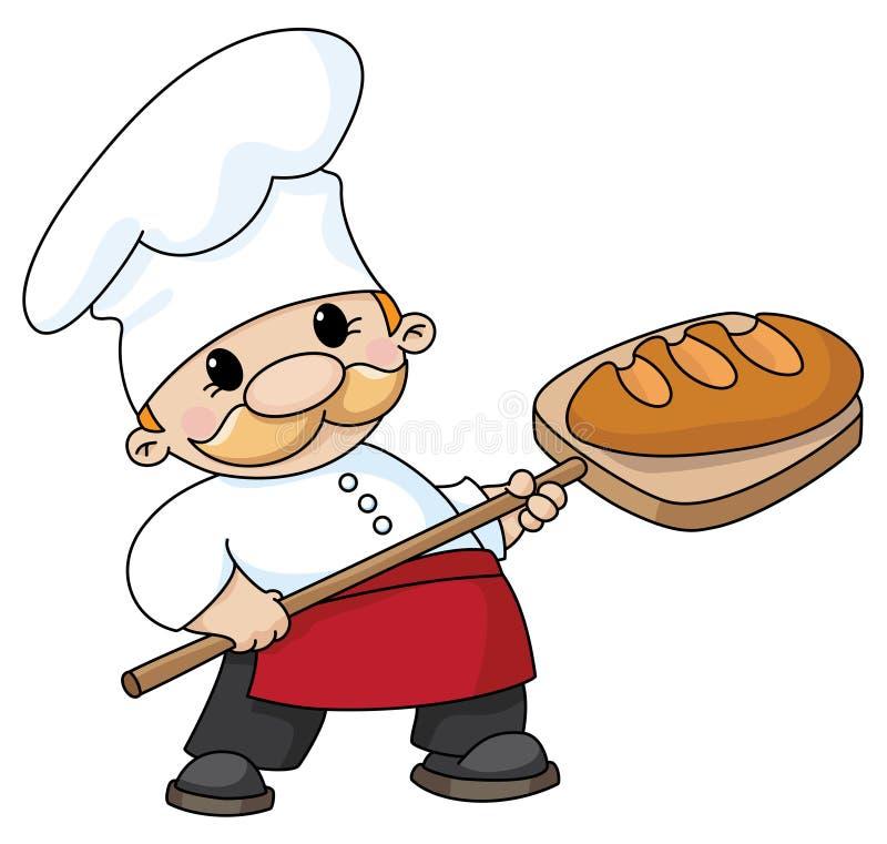 Panadero con pan ilustración del vector